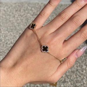 RACHEL ZOE black onyx clover bracelet